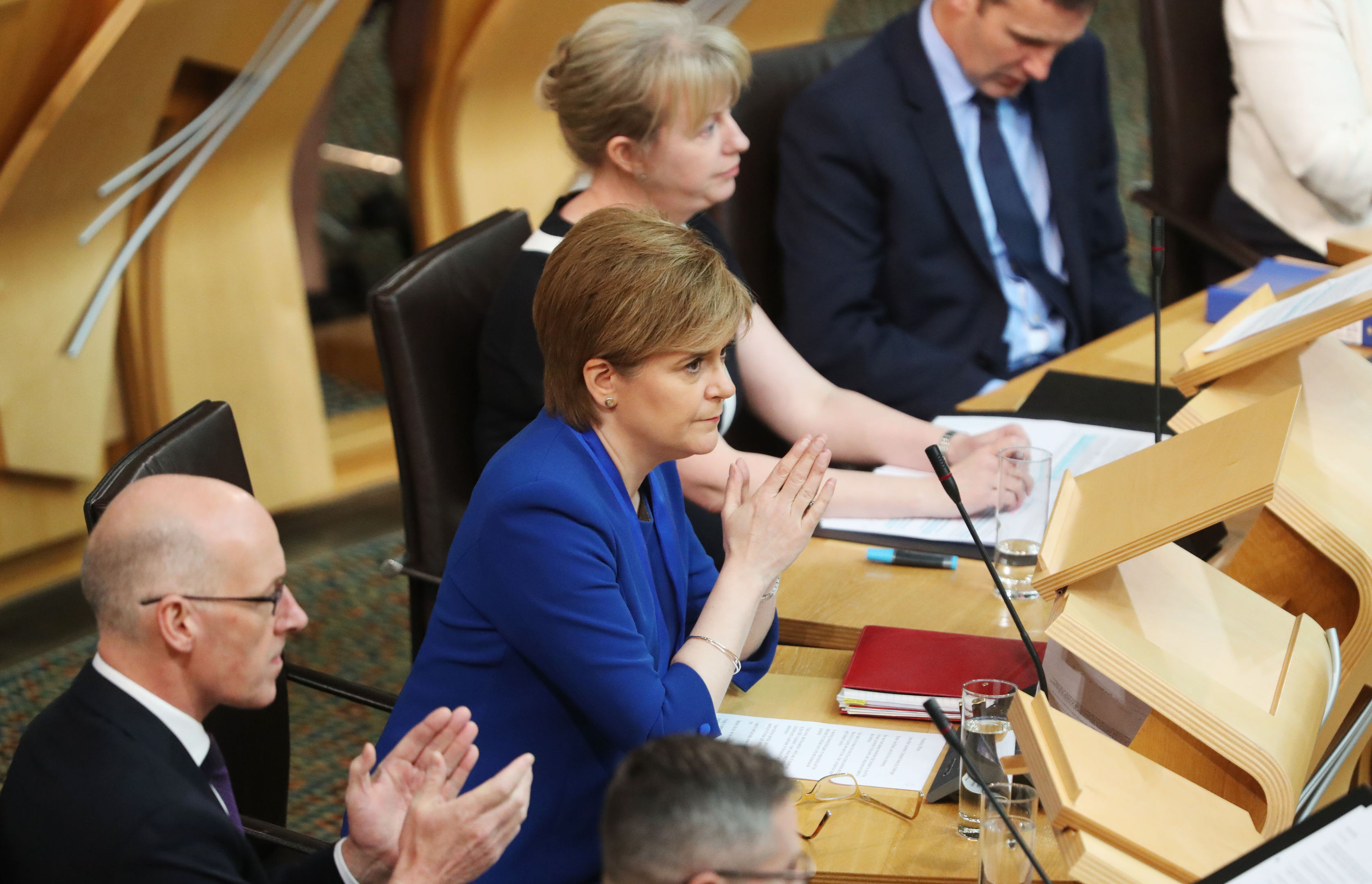 First Minister Nicola Sturgeon at the Scottish Parliament today