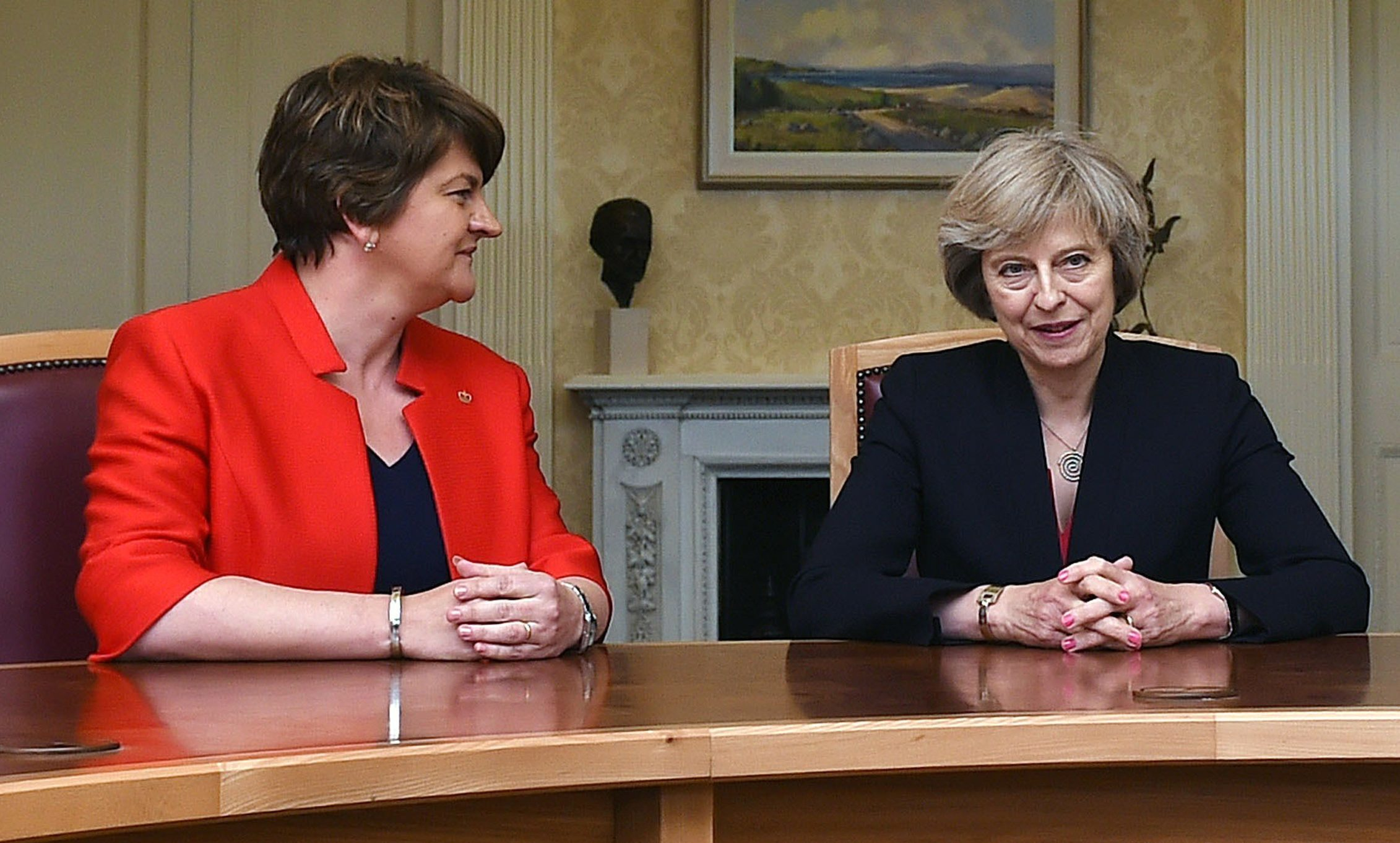 Arlene Foster (left), leader of the Democratic Unionist Party, with Prime Minister Theresa May