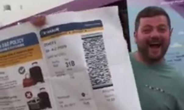 Gary Mitchell with his jumbo pass.