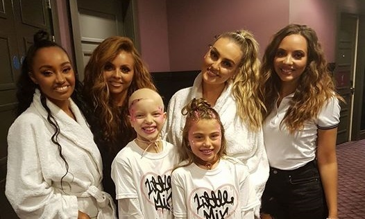Lily Douglas and pal Cerys Robertson with Little Mix in the Malmaison