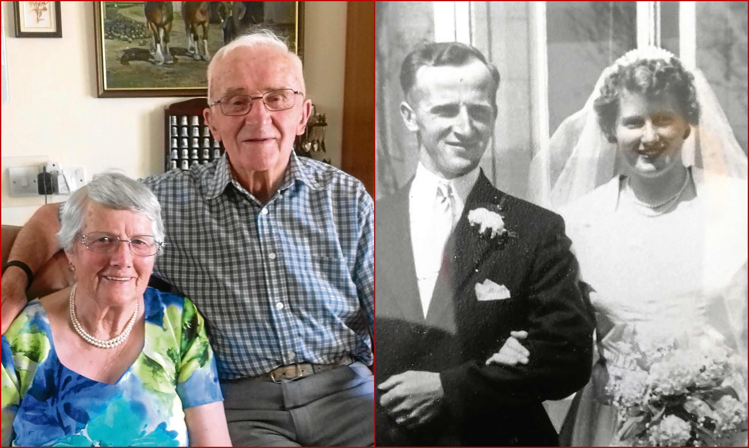 Margaret and Doug Thomson pictured at home and on their wedding day in 1957.