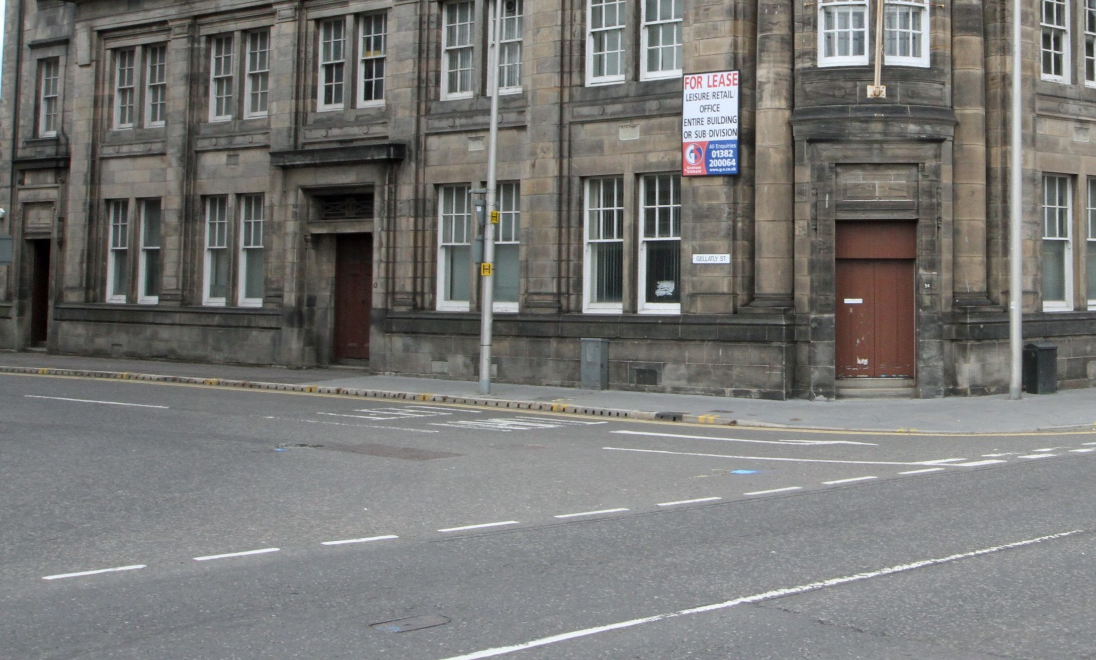 The junction of Gellatly Street and Dock Street