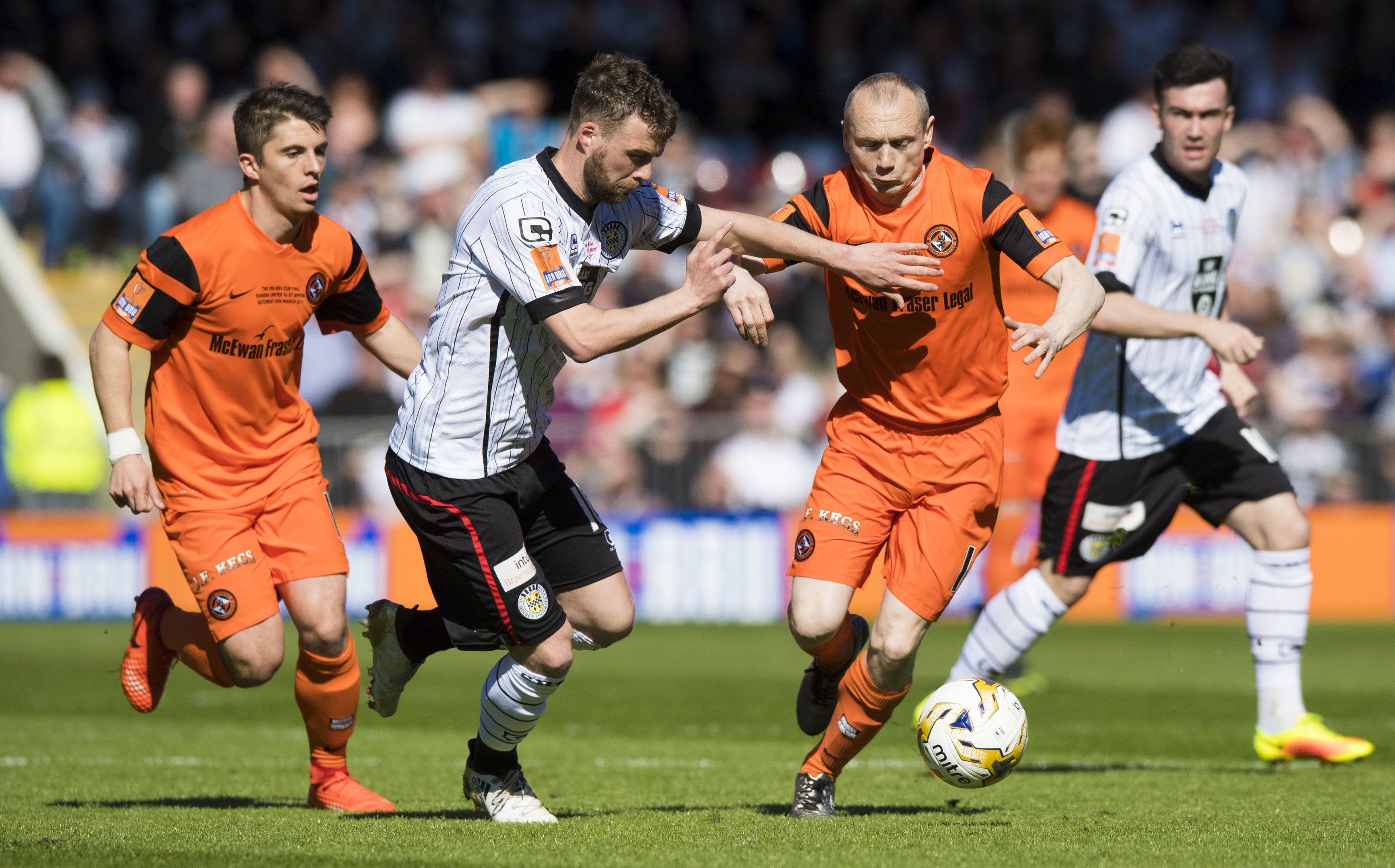 Rory Loy, seen here playing for St Mirren against Dundee United's Willo Flood, can still have a future at Dens Park.