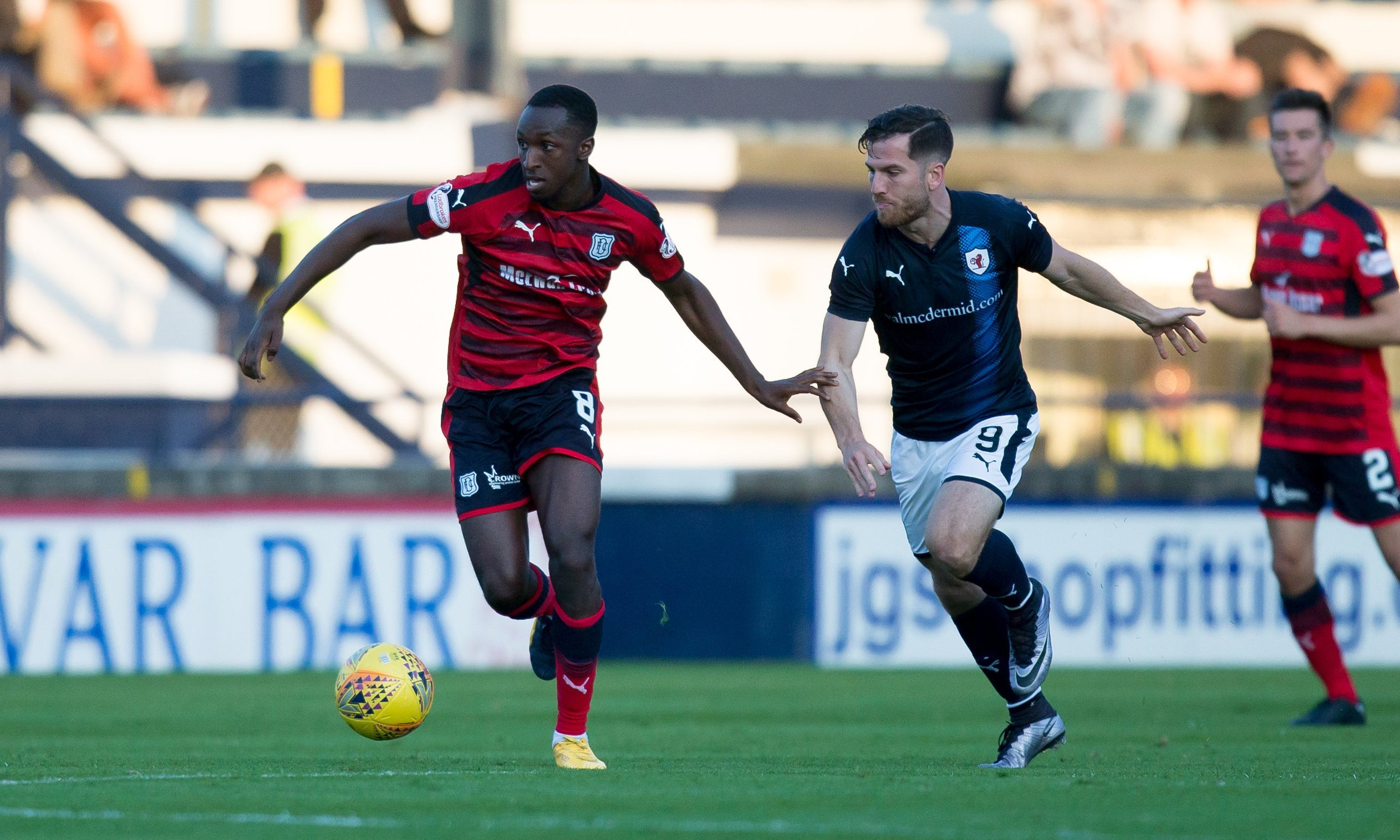 Glen Kamara goes past Raith's Liam Buchanan during the Betfred Cup clash. Picture by David Young
