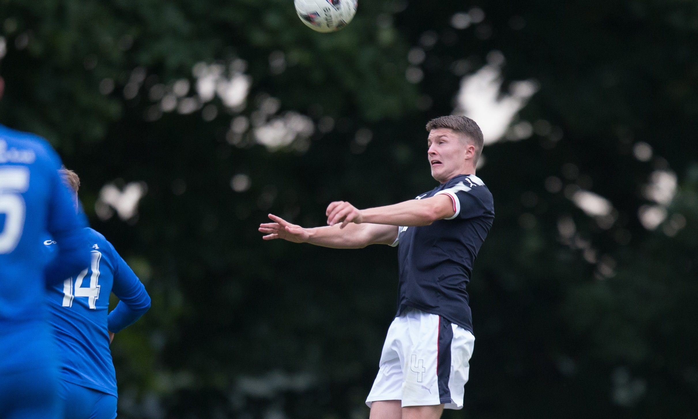 Former West Brom youth player Jordan Piggott in action for Dundee U/20s at Thomson Park. Picture by David Young