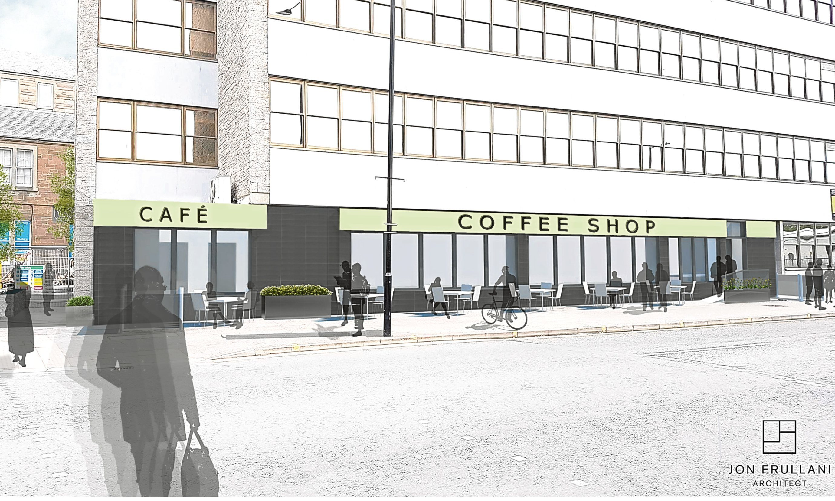 An artist's impression by Jon Frullani Architect of what the new coffee shop and cafe units, across the road from the bus station, would look like.
