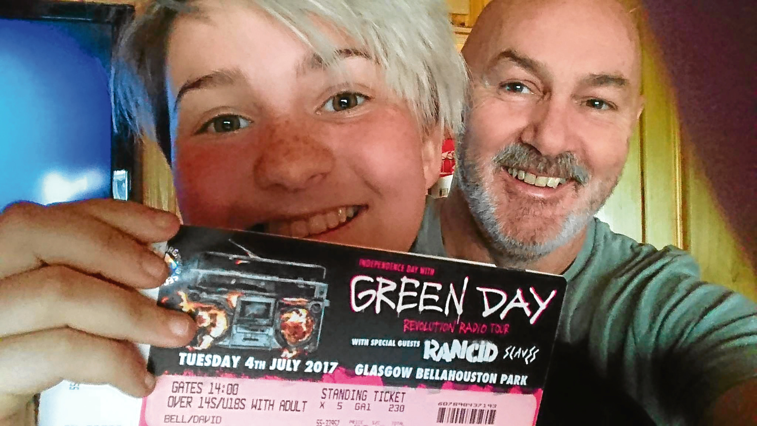 Dave Bell, 57 and his daughter Peri,15, had been set to go to the gig.