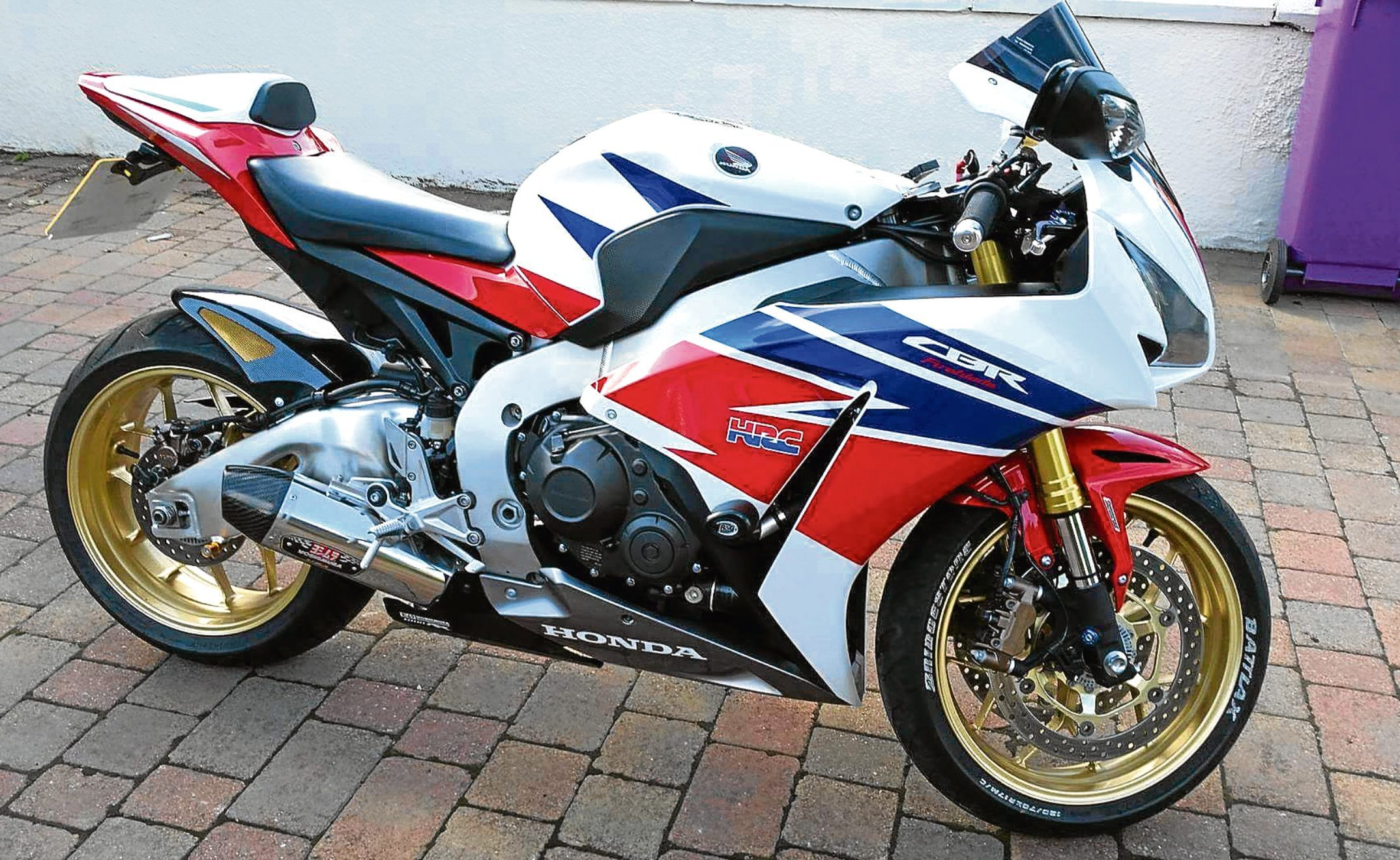 A gold-wheeled Honda Fireblade was one of two motorbikes stolen during the break-in