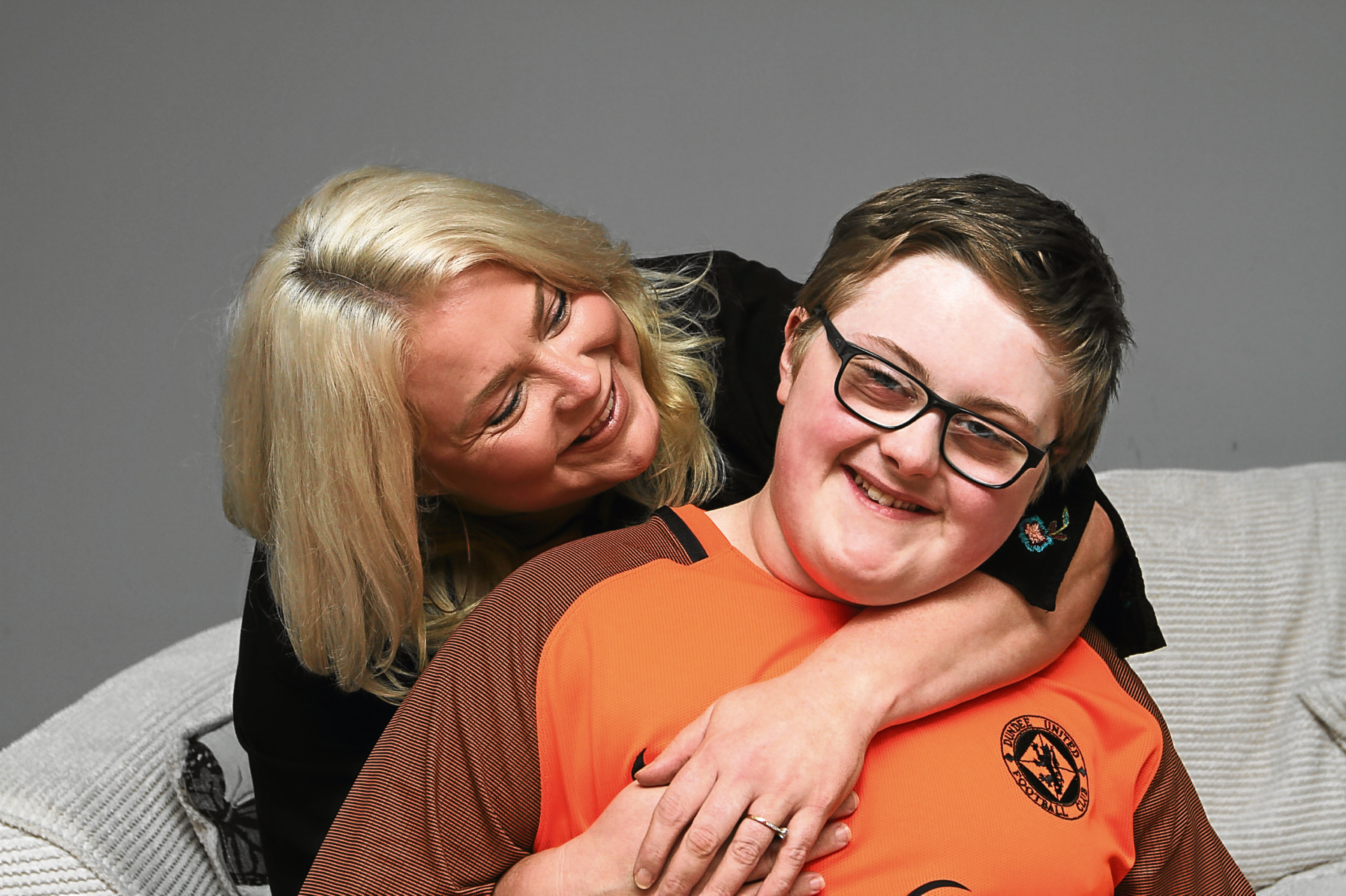 Jackson Edwards pictured at home with mum Leigh.