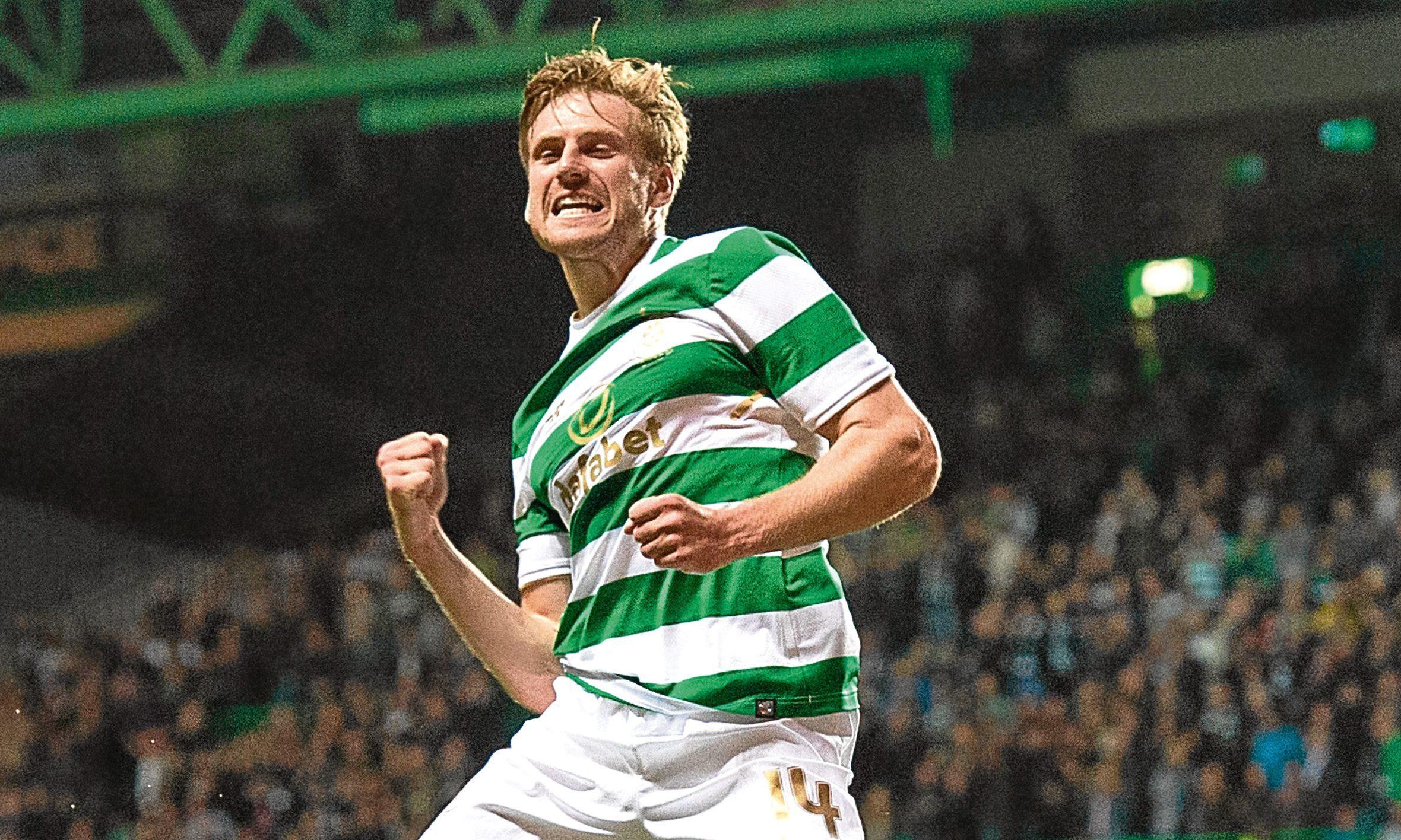 Celtic's Stuart Armstrong celebrates scoring for the Hoops