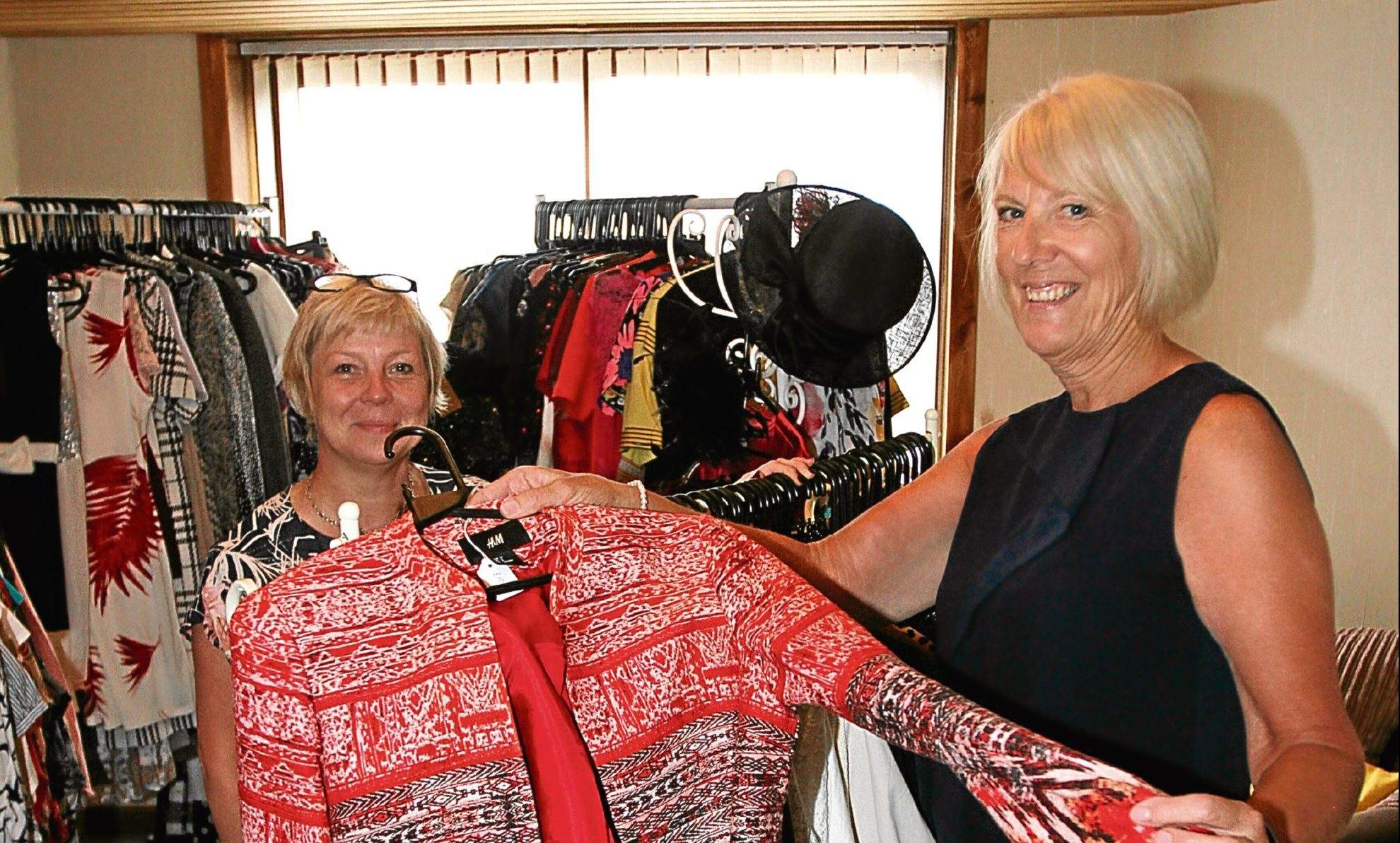 Morag Beckett with friend and neighbour Lesley McMurray. Both will be serving in the pop-up shop.