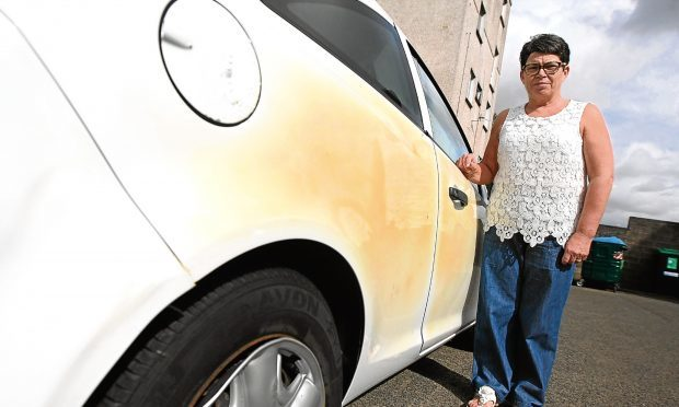Jacqueline Wilkie and her car, which was damaged after a bin was set alight.
