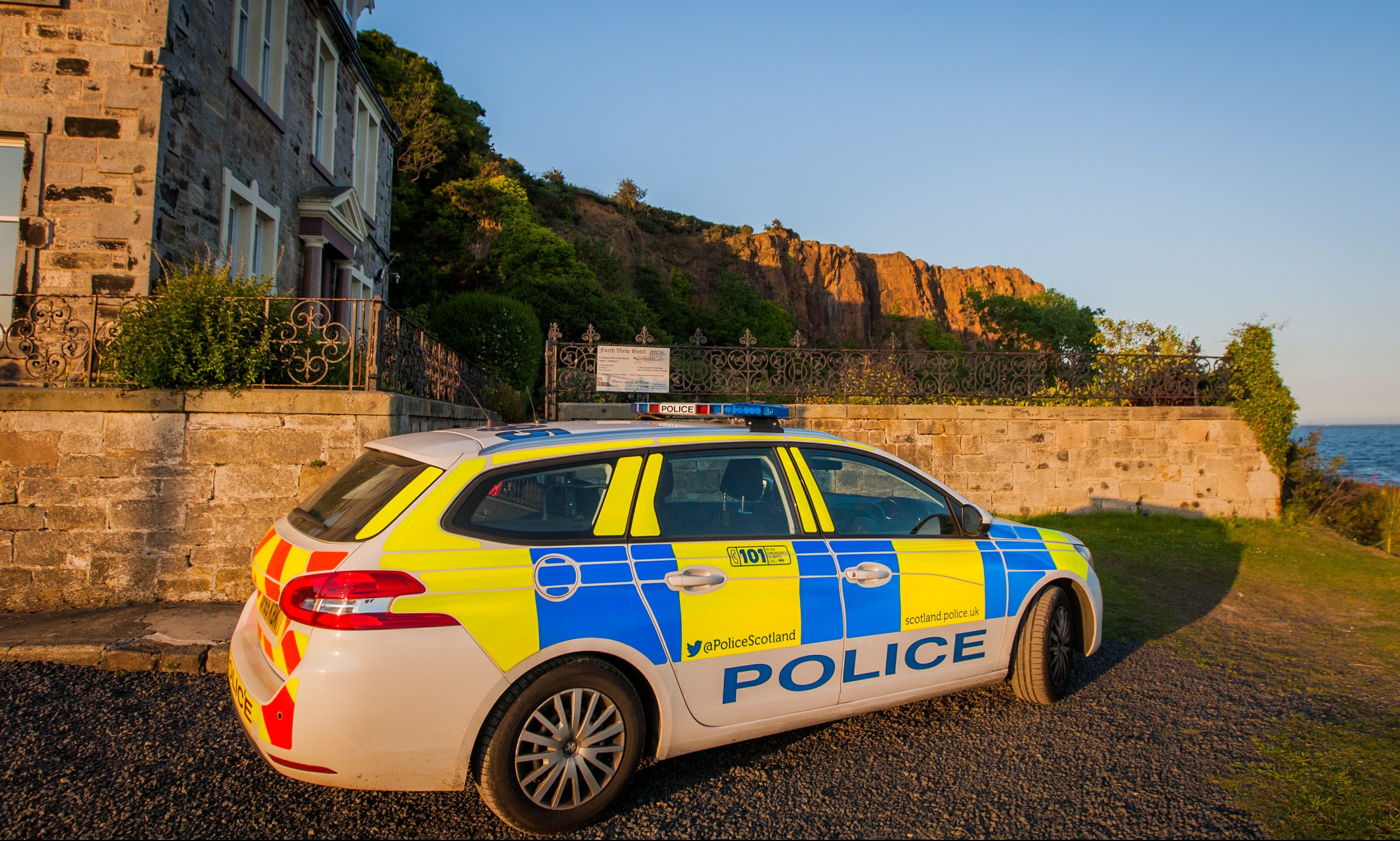 Police at the scene in Hawkcraig Point, Aberdour