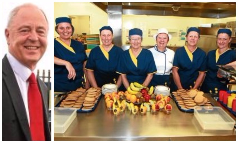 Iain Waddell, left, and the kitchen team at Craigowl Primary School
