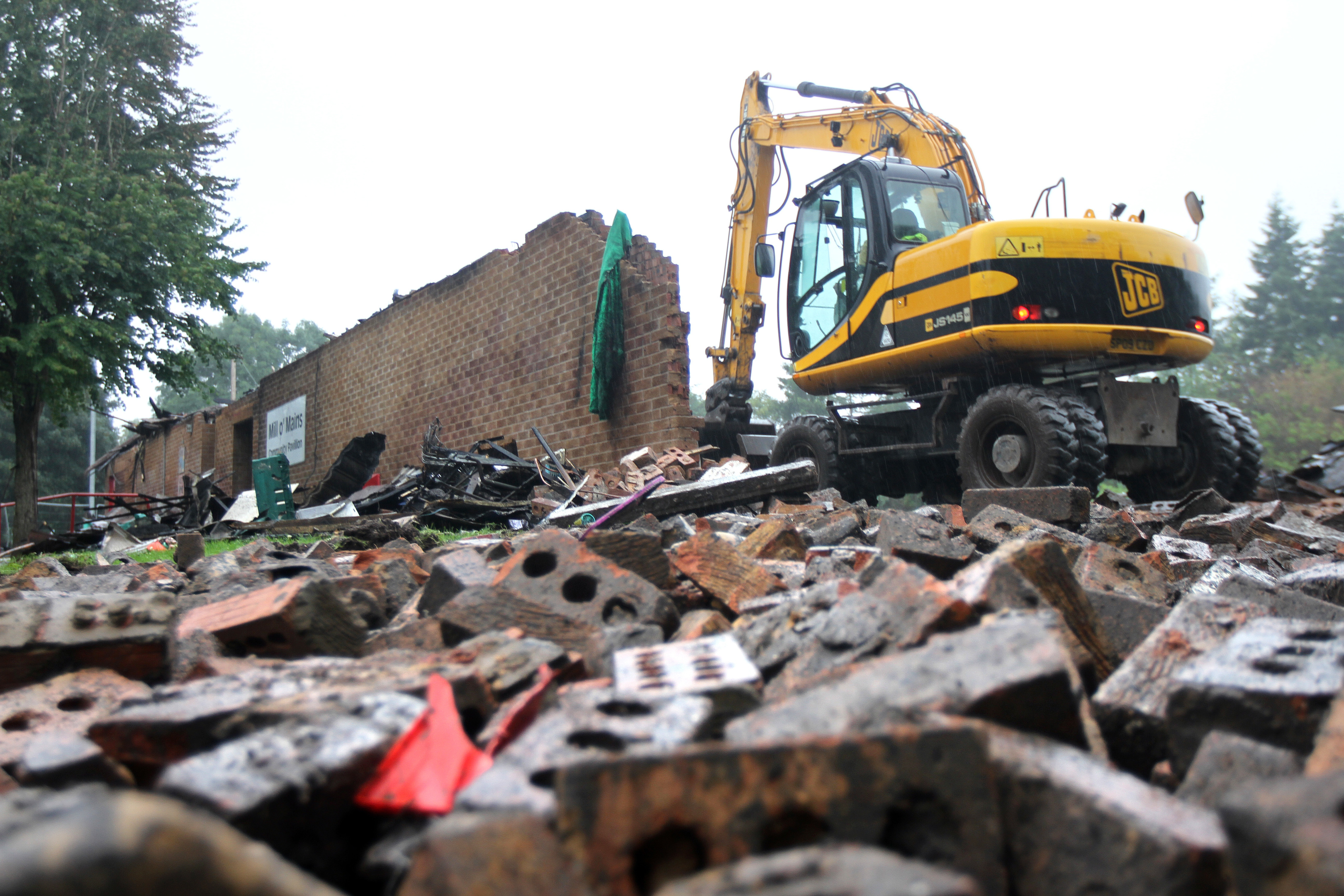 The fire-hit Mill o' Mains Community Pavilion was torn down.