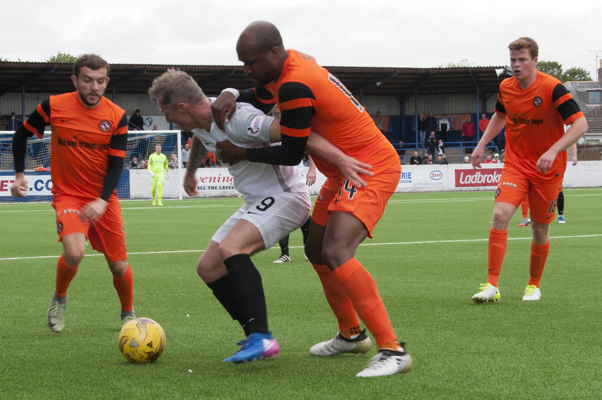 United's William Edjenguele jostles for the ball at Links Park. Picture by Paul Smith