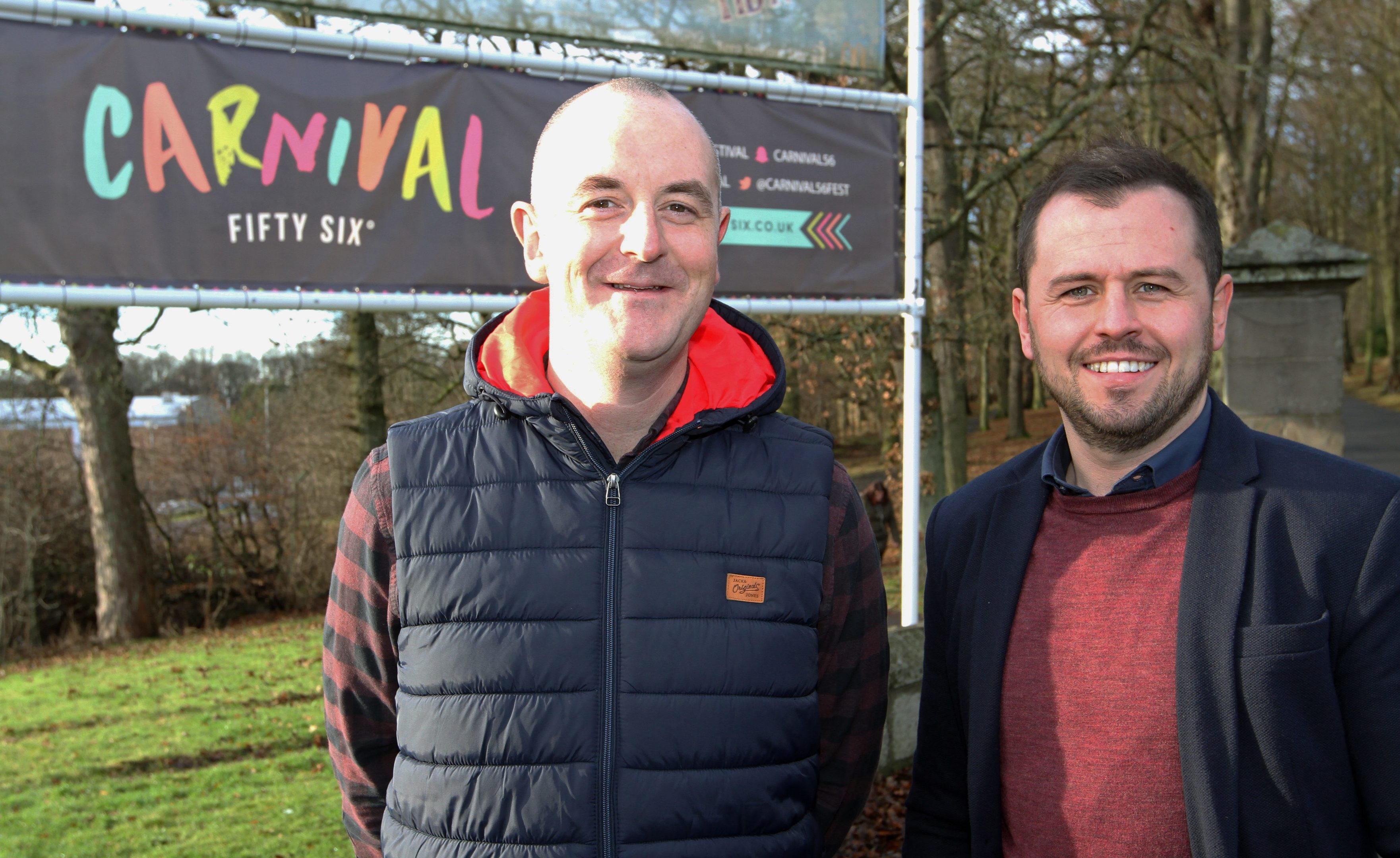 Carnival Fifty Six event manager Steve Reynolds and director Craig Blyth outside Camperdown as the event is set to attract thousands of music fans