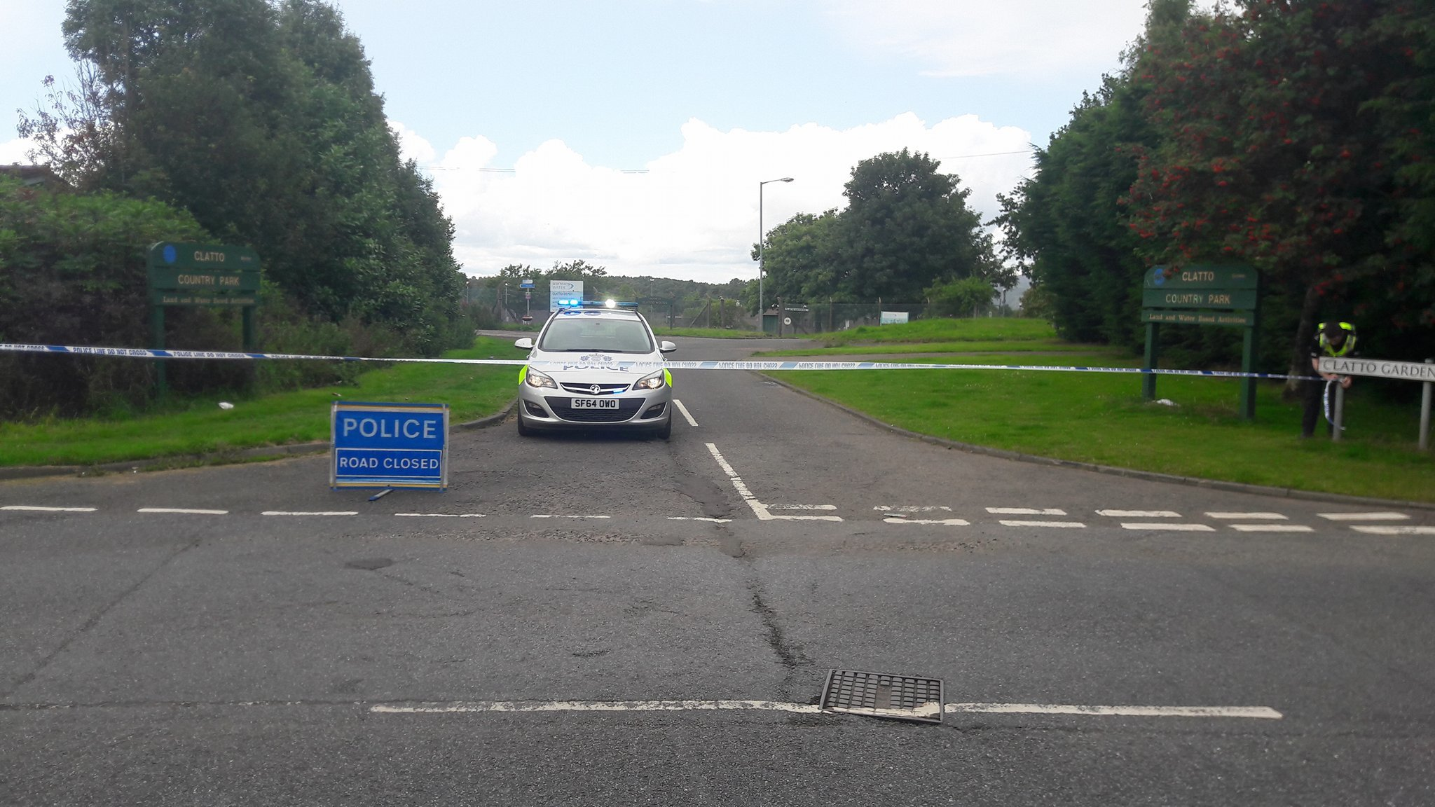 Police have sealed off the entrance to Clatto Country Park