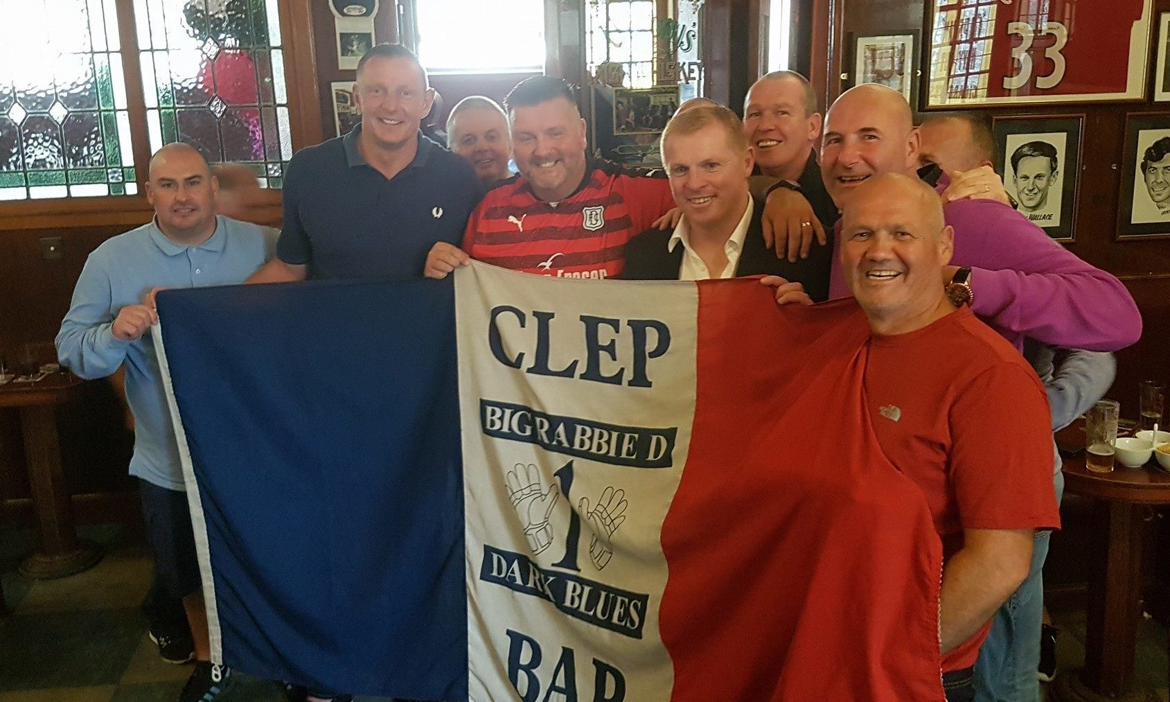 Neil Lennon with members of the Big Rabbie D Dark Blues and Rab Douglas. Gary Knight is to the immediate left of Lennon.