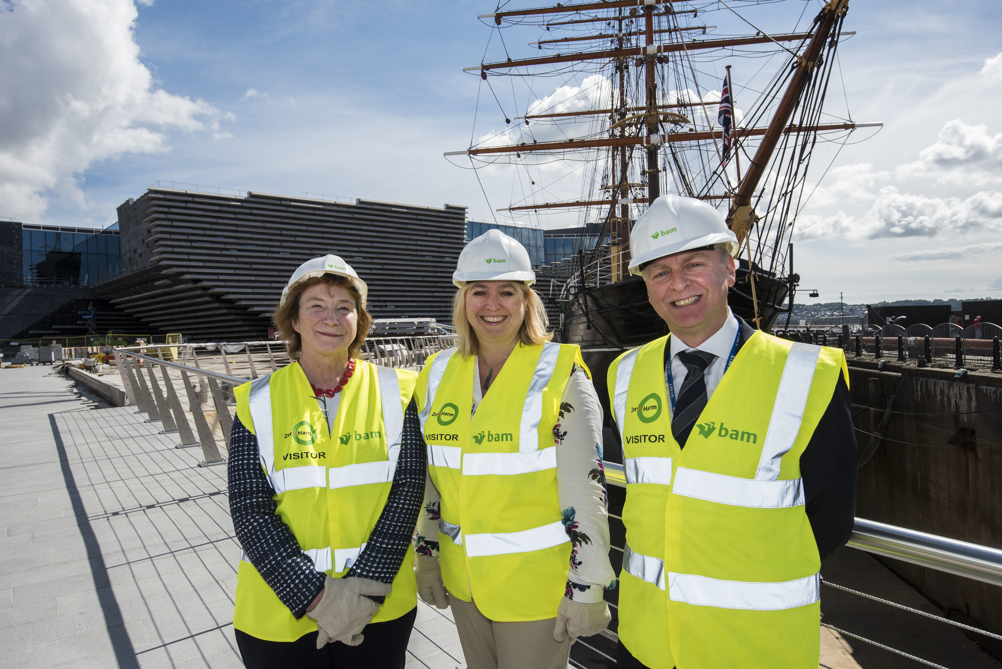 Secretary of State for Digital Culture Media and Sport Karen Bradley MP (Centre)  tours the V&A Dundee site with Philip Long and Lesley Knox