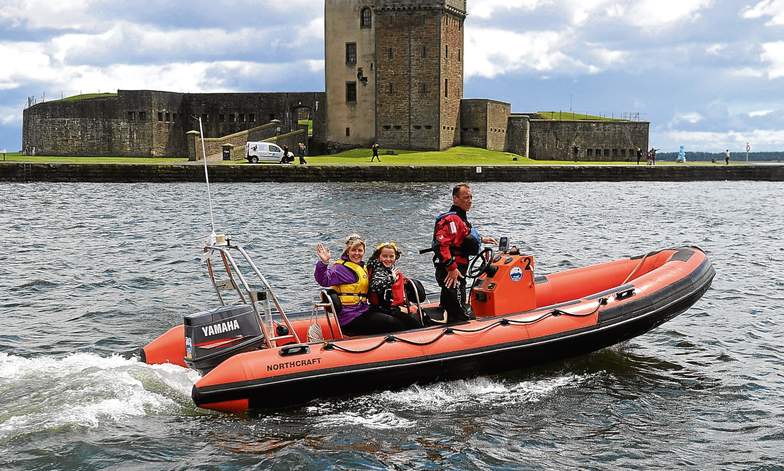 One of Ancrum Outdoor Centre's powerboat day boats heading for the Tay at Broughty Castle.