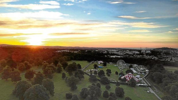 Joanna Forbes' stunning drone image shows the sun rising over the Carnival Fifty Six site.