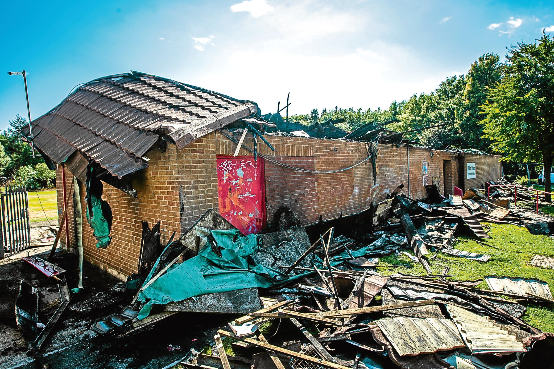 Mill o' Mains Community Centre after last month's devastating blaze.