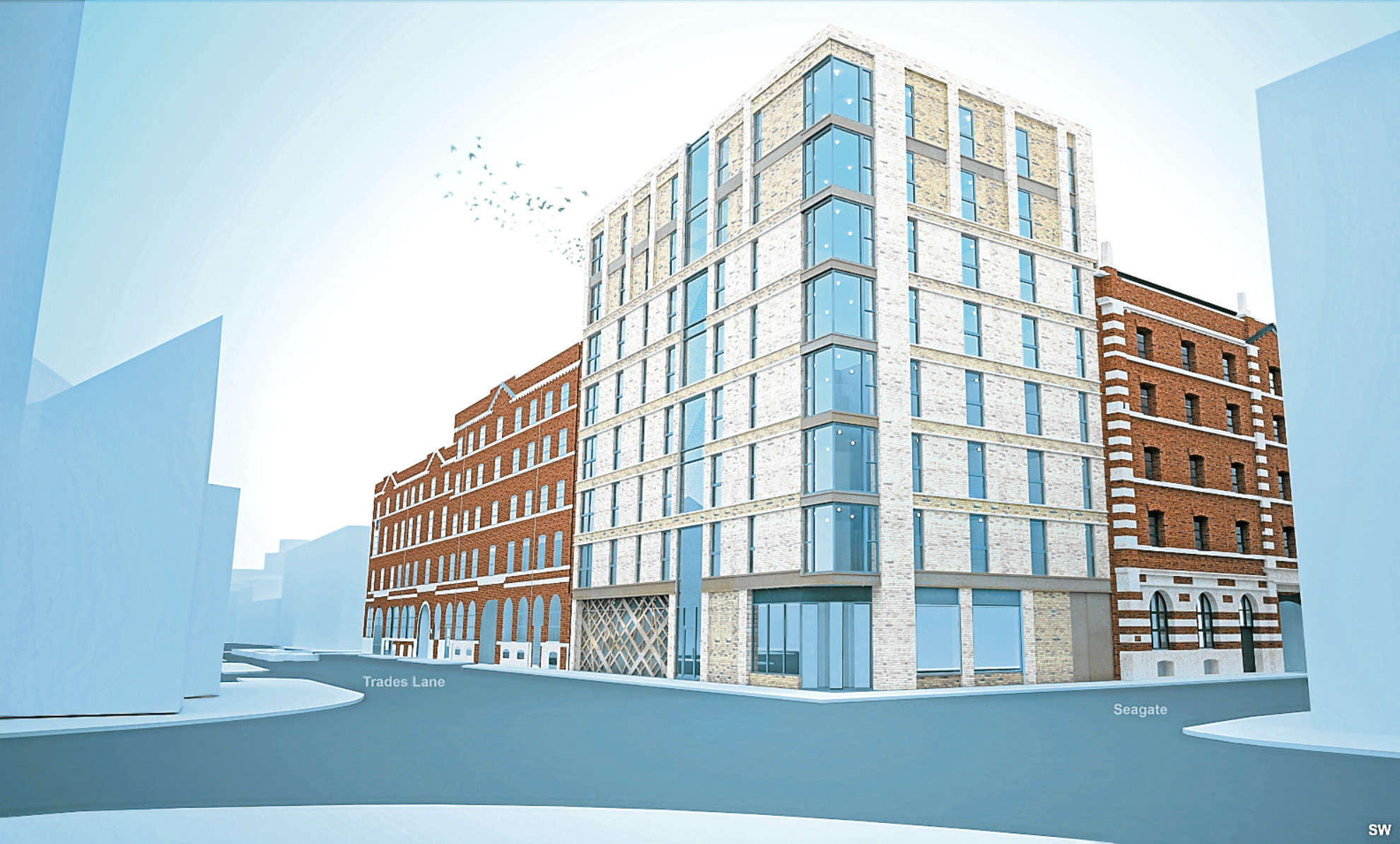 An artist's impression of the flats. Drawing by James Paul Associates.