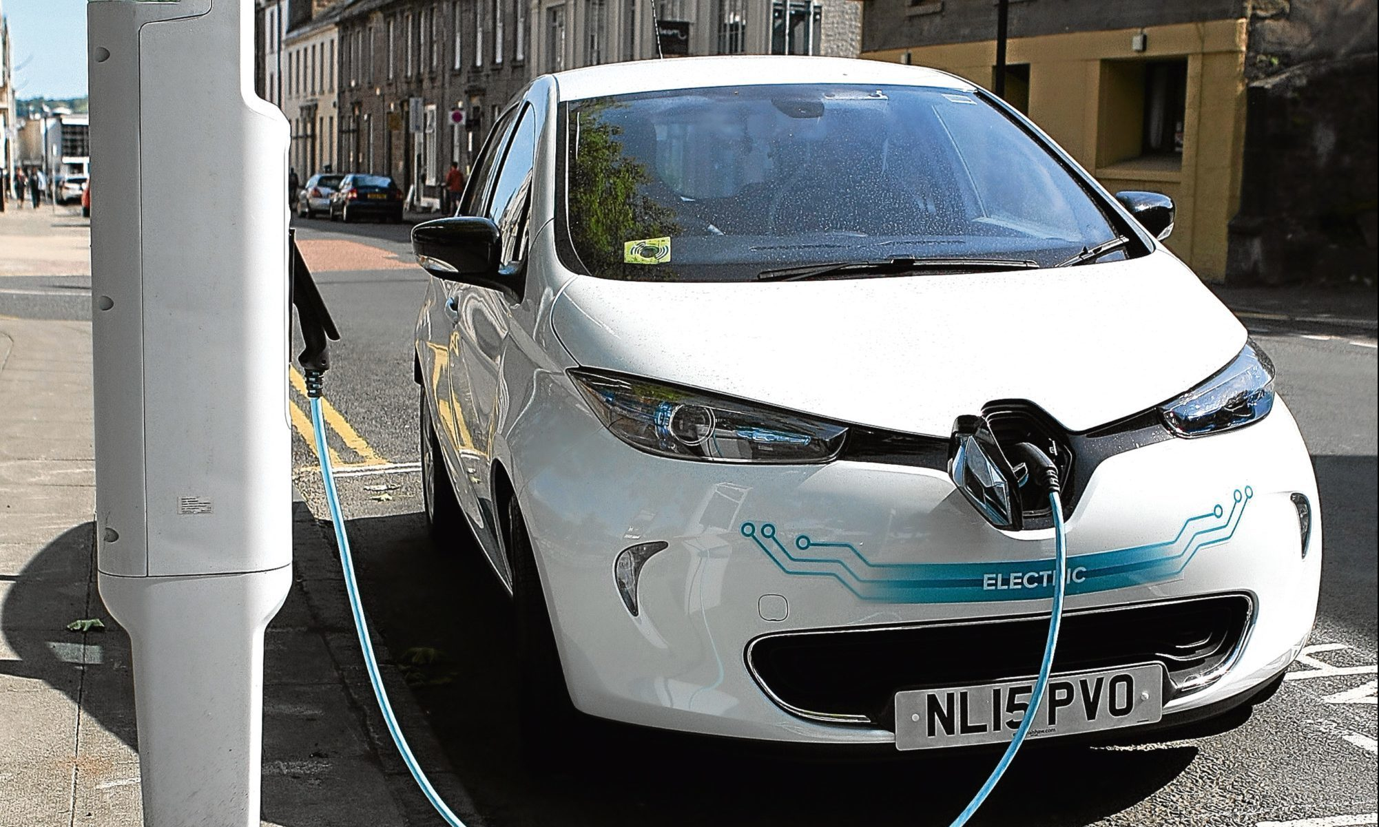 An electric vehicle charging point in Dundee's South Tay Street.