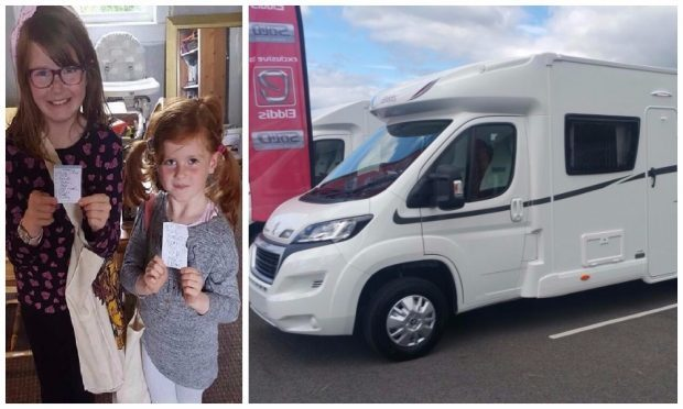 Missing girls Grace (8) and Kara McKinney and a motorhome similar to the one they are thought to have travelled in