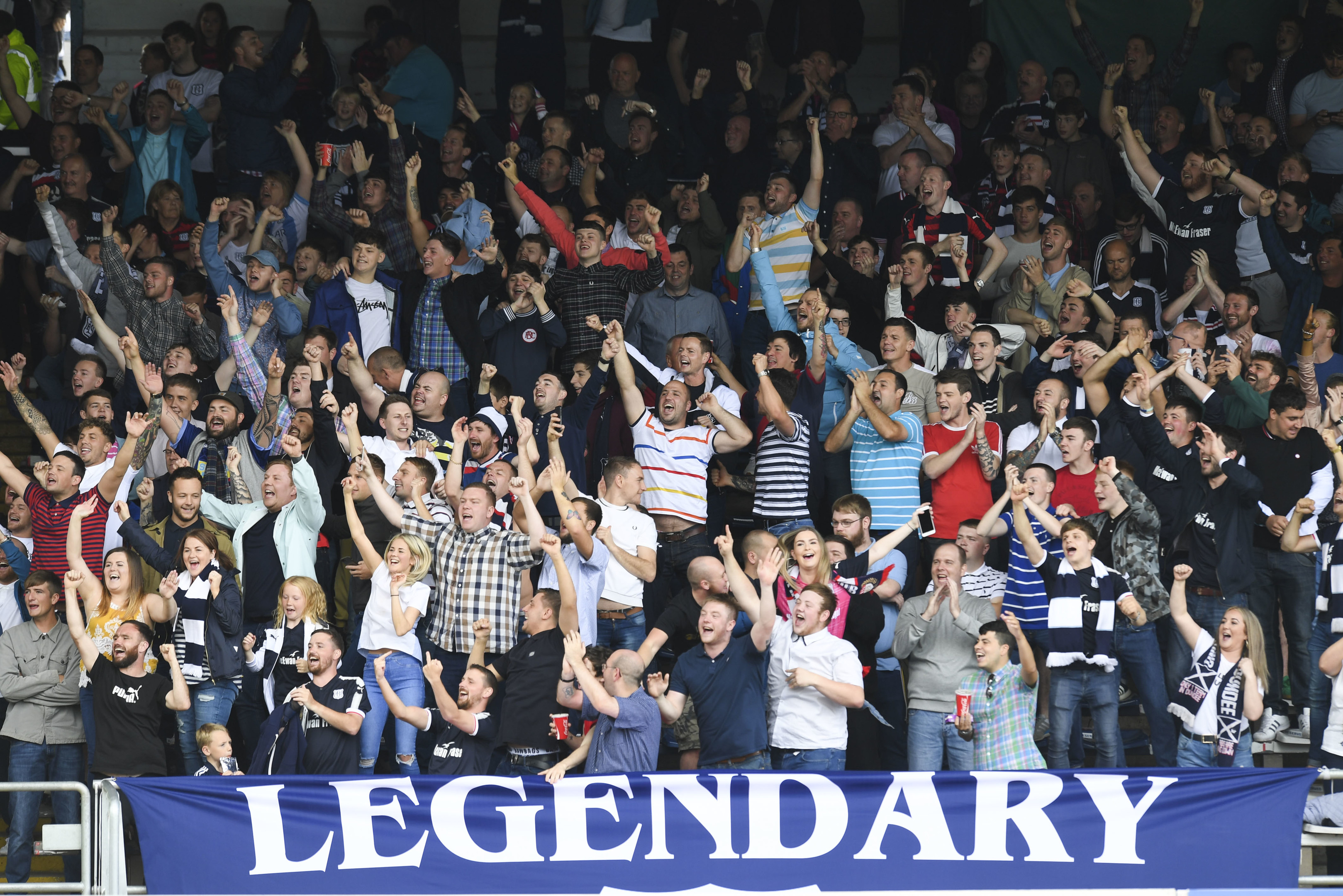 Some Dundee fans in the South Enclosure during Sunday's derby.