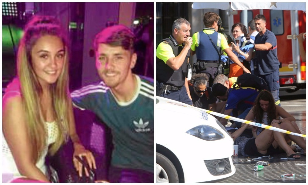 A rented van mowed down tourists and local at Las Ramblas, a popular street in Barcelona, yesterday. Left: Sarah Brown and Reece Holt.