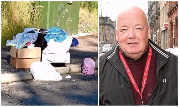 Rubbish which has been dumped in Trottick and (right) Chris Elder.