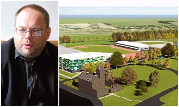Councillor Stewart Hunter, and an artist's impression of how Dundee's new Regional Performance Centre for Sport would look.