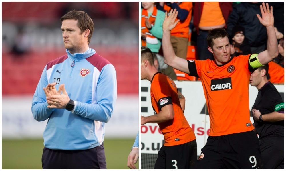 Former Dundee United fan favourite will take charge of Heart for the time being.