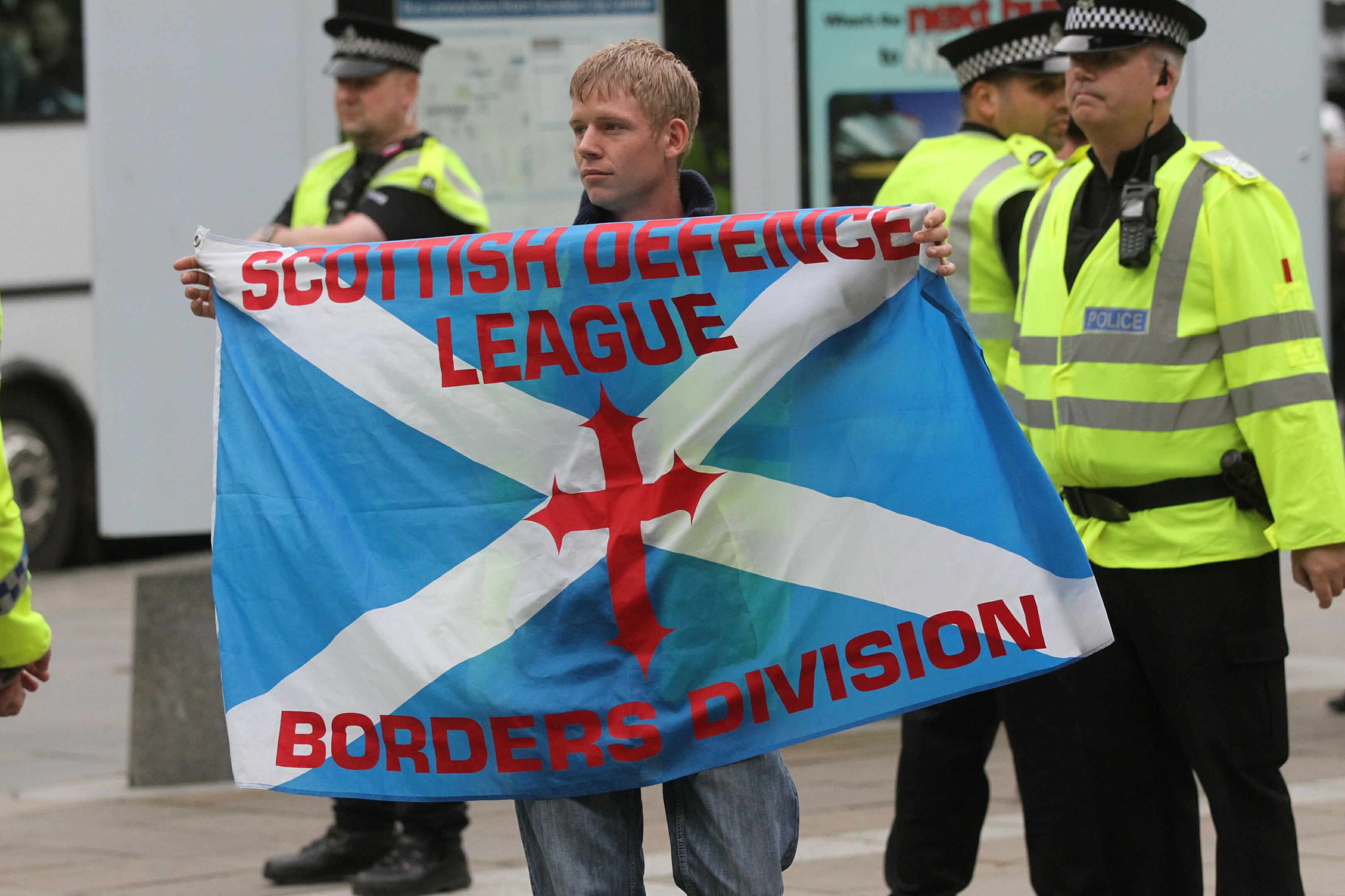 A Scottish Defence League at a previous rally.