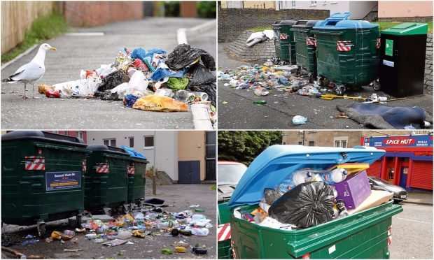 Some of the instances of overflowing rubbish across Dundee