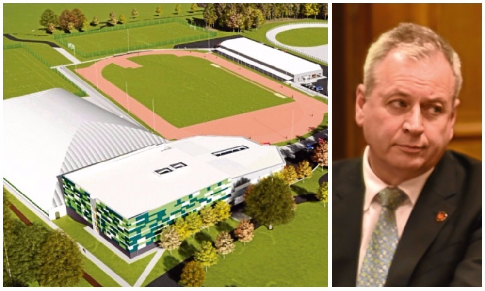 An artist's impression of how the proposed multimillion-pound regional performance centre could look and (right) council chief executive David Martin