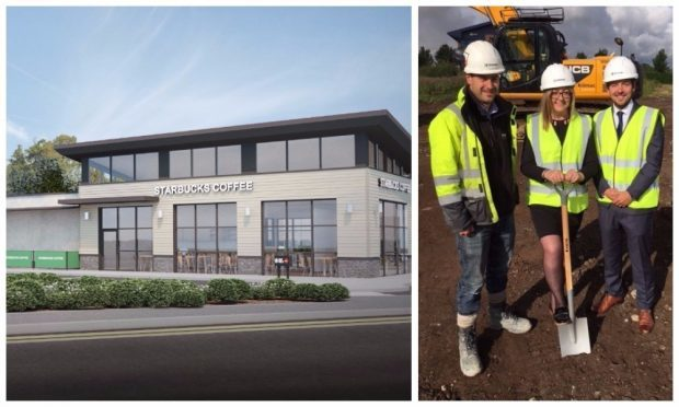 An artist's impression of the drive-through Starbucks. And Councillor Roisin Smith pictured with Kilmac site manager Gordon Lang (left) and director Blair Morrison.