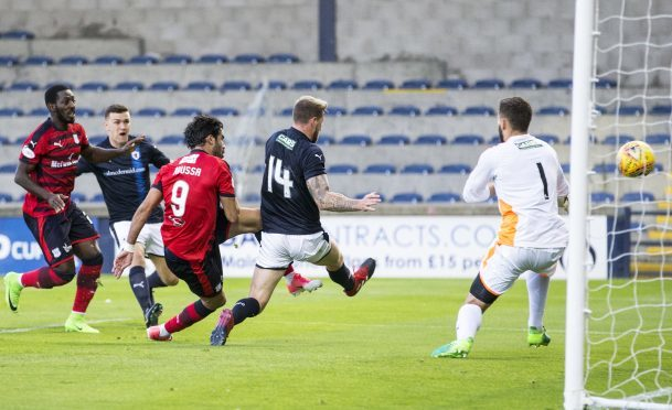 Action from the Raith Rovers v Dundee Betfred Cup game. Sofien Moussa opened the scoring.