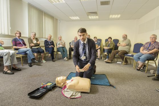 Tele reporter James Simpson at a first aid training course.