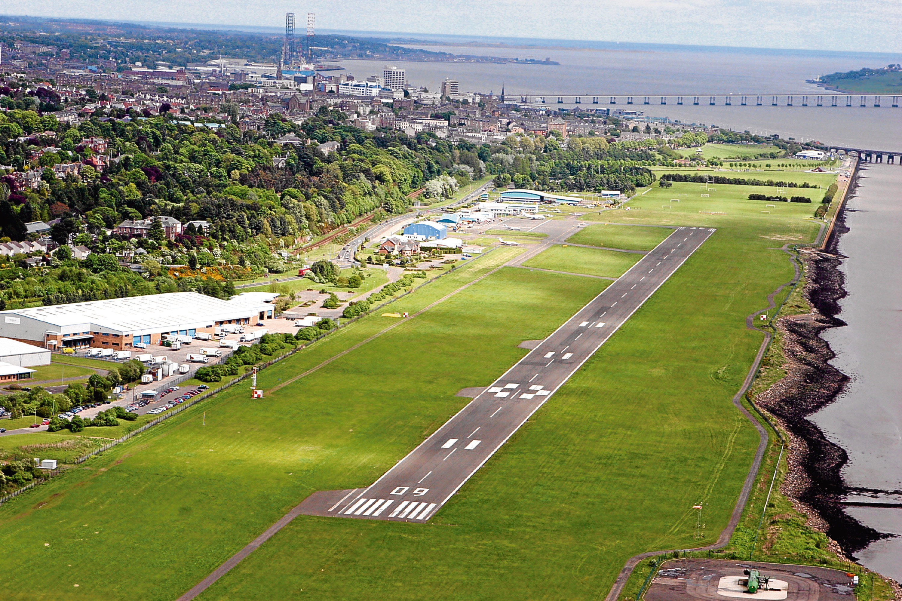 An aerial view of Dundee Airport