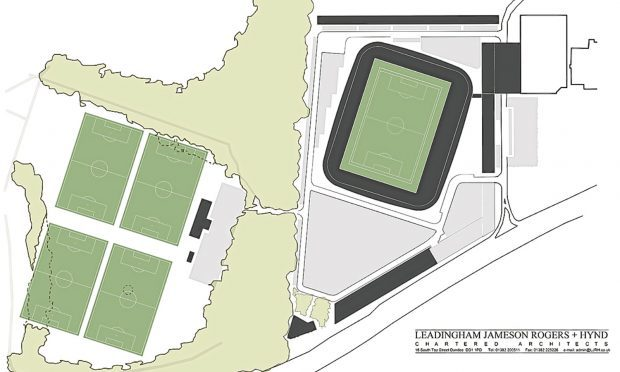Drawings showing the proposed stadium, with the pitches inside the park boundary to the left