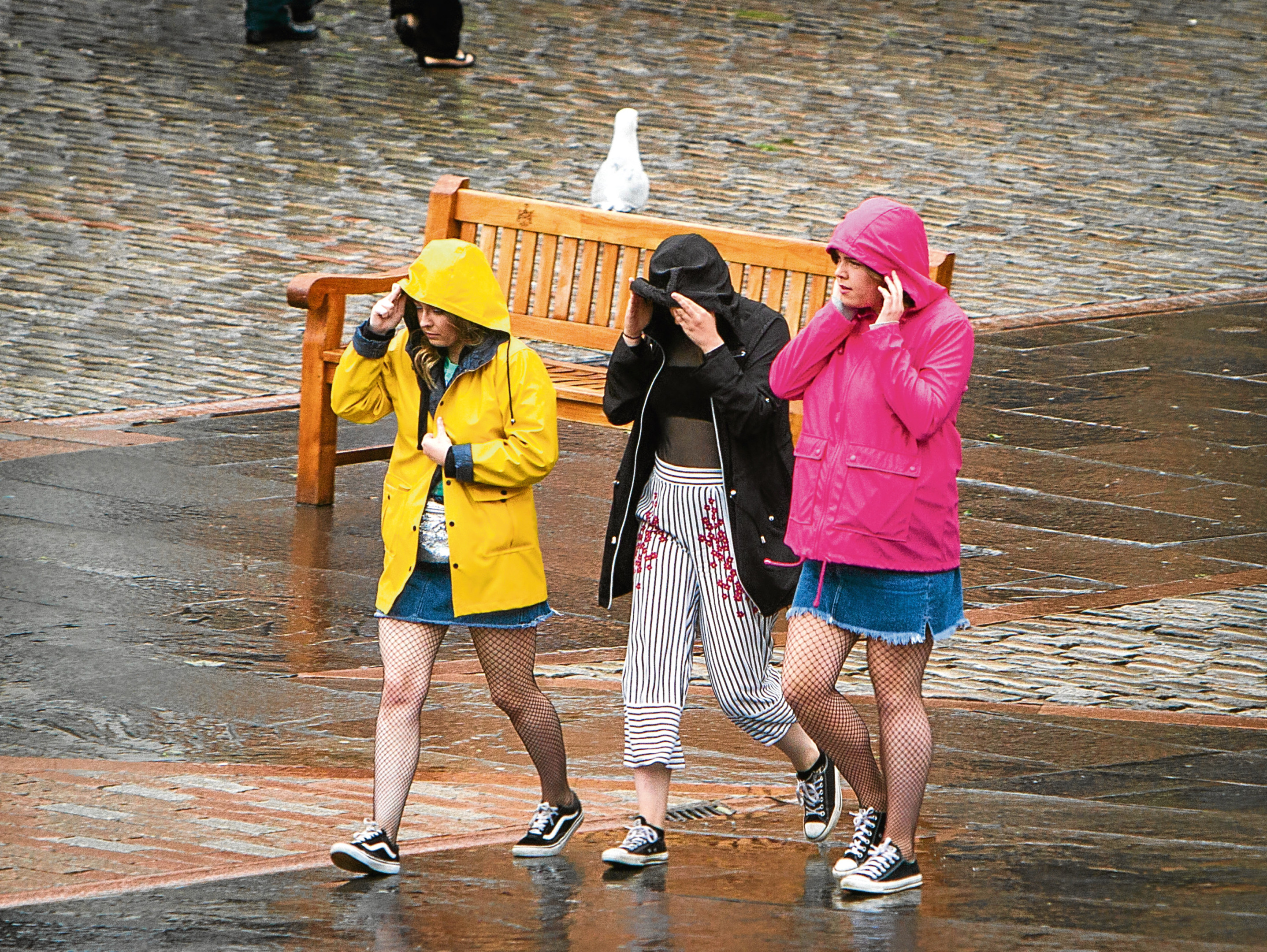 Although there were days with plenty of sunshine this summer, the rain was never far away — as experienced by this group pictured at city centre.