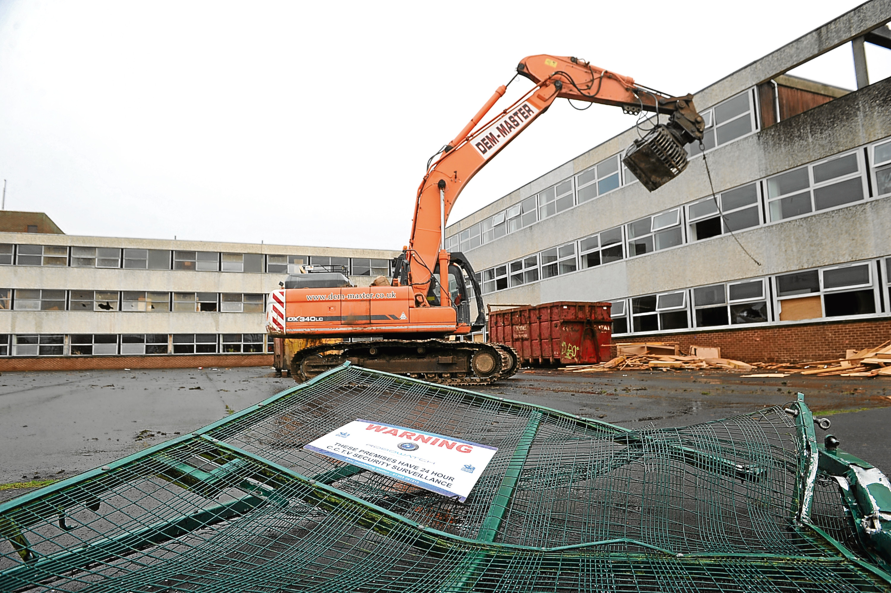 Demolition work continued on the former Menzieshill High School
