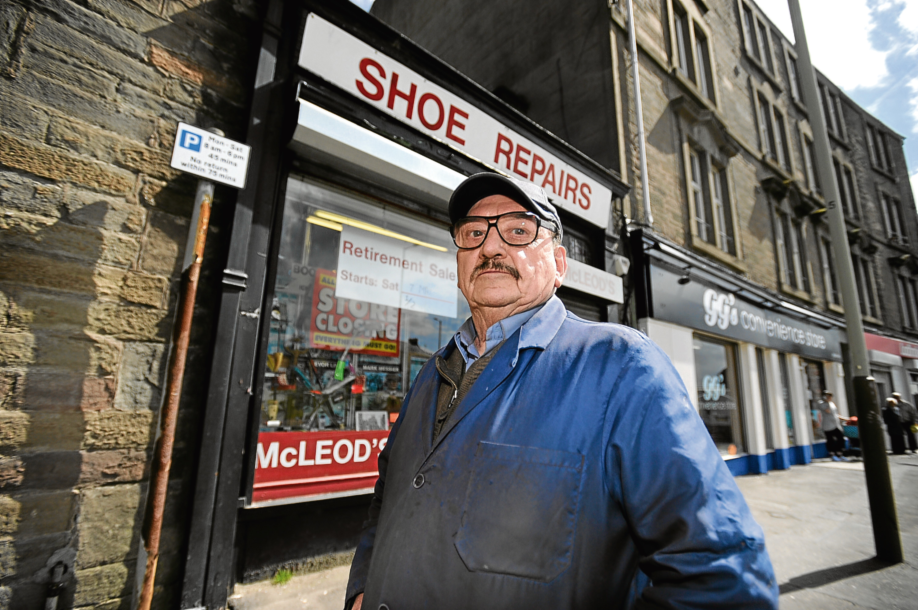 Charles Clark, 81, pictured outside his former shop McLeaod's Show Repair in May last year