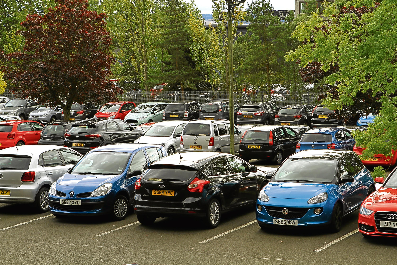 The busy Ninewells Hospital car park