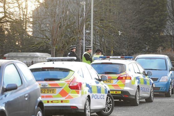Police at the scene on Drumlanrig Drive.