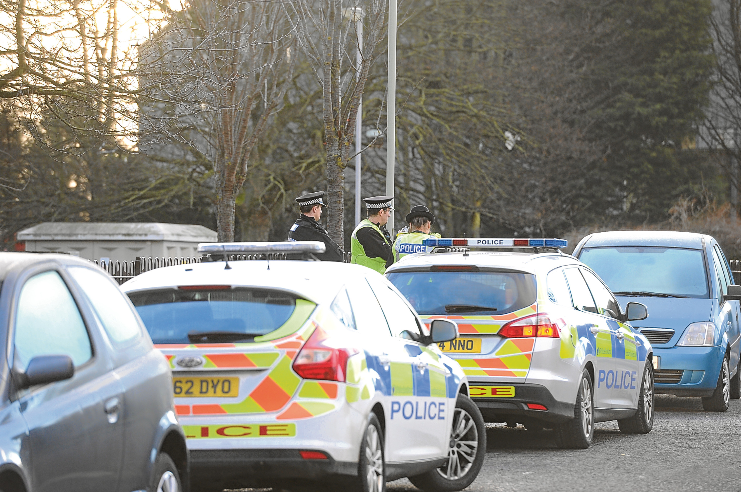 Police at the scene on Drumlanrig Drive.