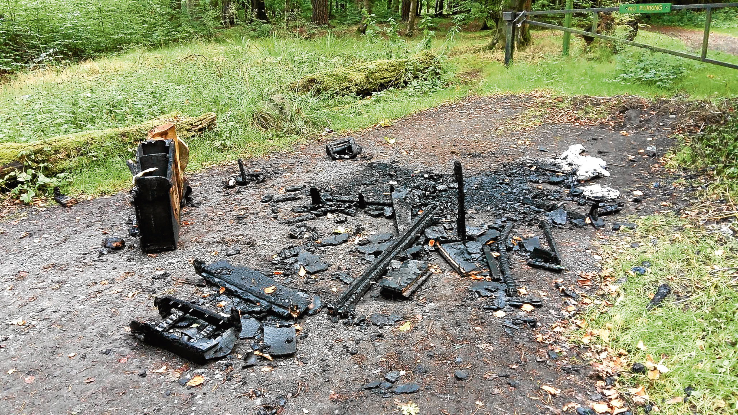 The aftermath of the sofa blaze at Templeton Woods